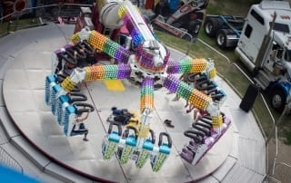 Overhead view of a spinning carnival ride